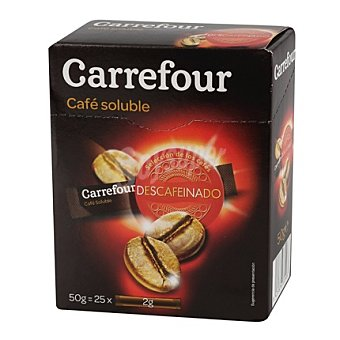 Carrefour Café soluble descafeinado Pack de 25x2 g