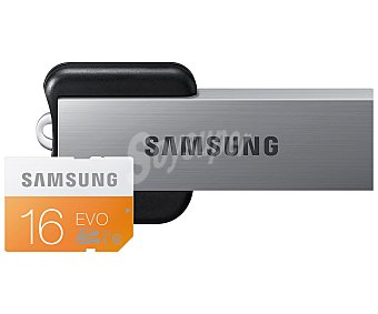 Samsung Tarjeta de memoria Microsdhc de 16 GB + usb, de alta velocidad, 48MB/S, clase 10. 1 Unidad