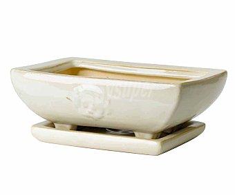 FANSA Jardinera cerámica rectangular, decorada, en color crema y con plato incorporado 1 unidad
