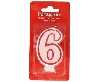 PARTYGRAM Vela de cumpleaños número 6 con filo color rojo 1 Unidad