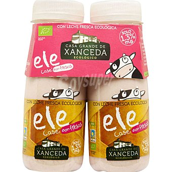 Casa Grande de Xanceda Yogur líquido ele casei con fresas con leche fresca ecológica Pack 2 envase 165 g