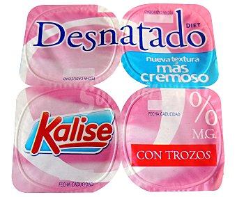 Kalise Yogur desnatado 0% sabor fresa Pack 4 unidades x 125 g