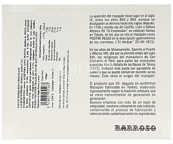 Barroso Pastas marquesas de chocolate artesanas,, 6 unidades 180 gramos. Peso barqueta 500 Gramos Aproximados 180g