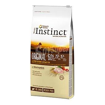 True Instinct Pienso natural para perros cachorros de raza mediana y maxi con pollo fresco y arroz integral Bolsa 12 kg