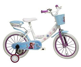 Disney Bicicleta infantil de 1 velocidad con portamuñecas trasero y cesta delantera, modelo Frozen, 16 pulgadas 1 unidad