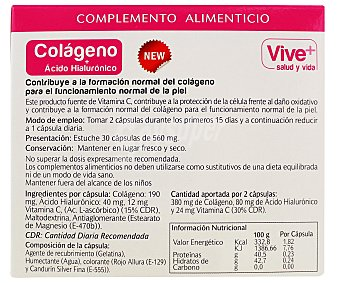 Viveplus Colágeno+Ácido hilorunico 30 Cápsulas 15 Gramos