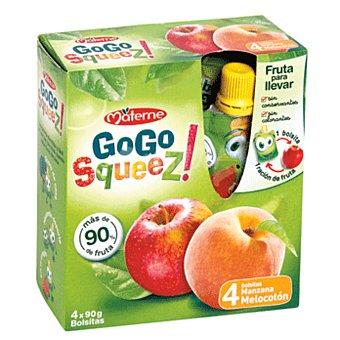 Gogo Squeez Combinado de fruta manzana melocoton Pack 4 paquete 360 grs