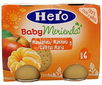 Hero Baby Puré de frutas: mandarina, manzana y galletas maría 2 unidades de 200 gramos