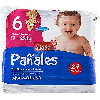 ALIADA Pañales unisex de 17 a 28 kg talla 6 elasticos y transpirables  bolsa 27 unidades