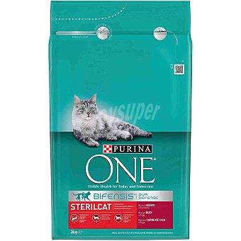 One Purina Alimento especial con buey para gatos esterilizados Paquete de 3 kg