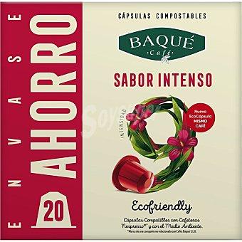 Café Baqué Sabor Intenso Ecofriendly café intensidad ápsulas compostables y compatibles con máquinas Nespresso 9 estuche 20 c