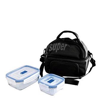 Porta Bolsa alimentos con 2 herméticos en vidrio 1 ud
