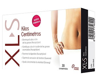 XLS Kilos Centímetros Complemento alimenticio para control de peso, xl-s kilos centímetros 30 comprimidos 15,75 gramos 30c