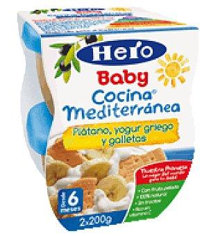 Hero Baby Cocina Mediterránea Plátano, yogur griego y galletas Pack de 2x200 g