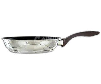 AUCHAN Sartén de 30 centímetros con cuerpo de acero inoxidable y fondo difusor de calor 1 Unidad