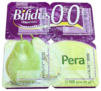 HACENDADO Yogur bifidus desnatado trozos pera 4 unidades de 125 g (500 g)