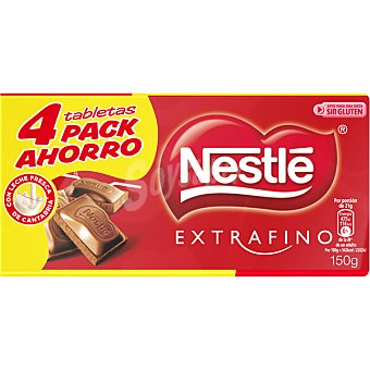 Extrafino Nestlé Chocolate con leche 600 g Pack ahorro 4x150g