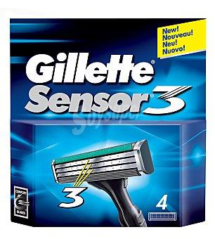 Gillette Sensor Recambio maquinilla de afeitar Blister 4 u