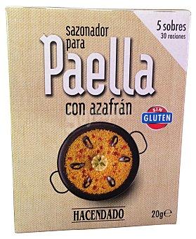 HACENDADO Sazonador de paella con azafrán Caja de 20 g (5 sobres)
