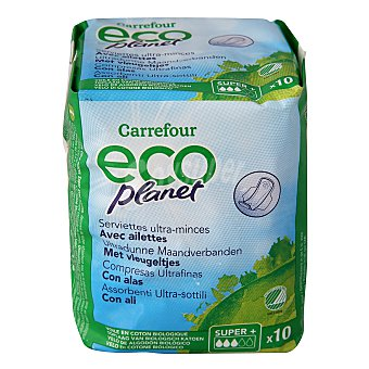 Carrefour Eco Planet Compresas ultrafinas super con alas 10 ud