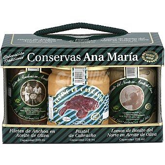 CONSERVAS ANA MARIA SERIE ORO Frasco de anchoas + frasco de pastel de cabracho + frasco lomos de bonito del norte Estuche 665 g neto escurrido