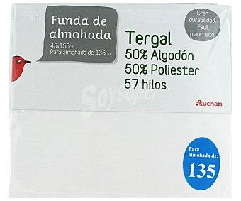 Auchan Funda de almohada color blanco, 135/150 centímetros 1 Unidad