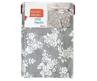 Auchan Mantel estampado color gris claro, 100% algodón, 150x150 centímetros 1 Unidad