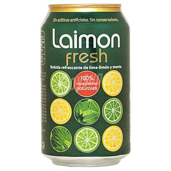 LAIMON FRESH Refresco de lima limón y menta con gas 100% ingredientes naturales Lata de 33 cl