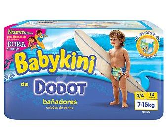 Dodot Pañales bañador talla 3/4 para niños de 7 a 15 kilogramos 12 unidades