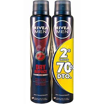 Nivea For Men Desodorante Dry Impact anti-transpirante pack 2 spray 200 ml Pack 2 spray 200 ml