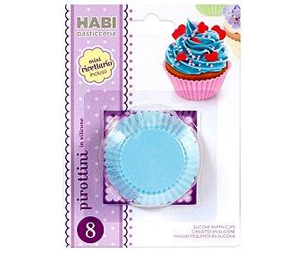 HABI Set de 8 moldes de silicona de colores para magdalenas, pastelitos..., 5 centímetros de diámetro pack de 8 unidades