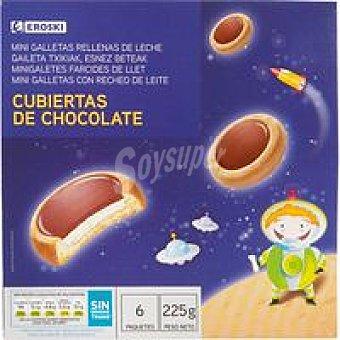 Eroski Galleta rellena de leche y cacao Caja 225 g