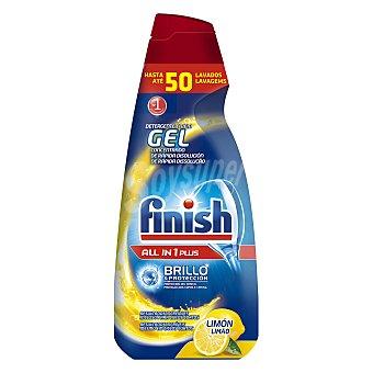 Finish Detergente lavavajillas todo en 1 Plus en gel concentrado limón botella 50 dosis brillo y protección del cristal Botella 50 dosis