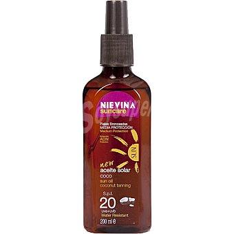 NIEVINA Suncare aceite solar coco FP-20 resistente al agua spray 200 ml
