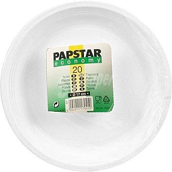 Papstar Plato plástico blanco Economy postre Paquete 20 unidades