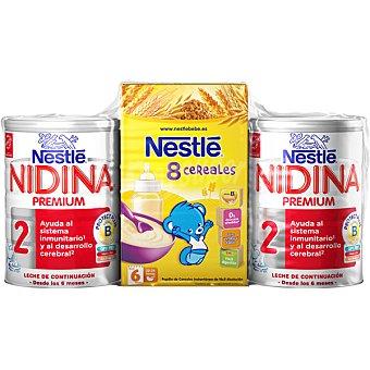 Nidina Nestlé Leche de continuación Premium 2 en polvo con vitaminas con regalo de papilla 8 cereales envase 600 g pack 2 envases 800 g