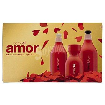Como tú Lote mujer amor eau toilette vaporizador (100 ml) + body milk (300 ml) + gel baño (300 ml) 1 unidad