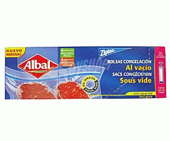 Albal Ziploc Bolsa Congelación al Vacío Bolsa Conge. 4Peq.+4Med.