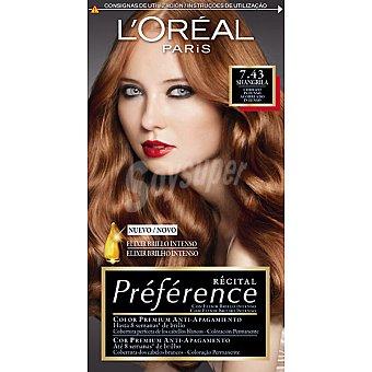 Preference L'Oréal Paris Tinte cobrizo intenso nº 7.43 Shangrila con elixir brillo intenso coloración permanente Caja 1 unidad