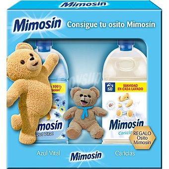 Mimosín Suavizantes concentrados de Caricias + Azul Vital botella 60 dosis con regalo de un osito Mimosín 2 unidades de 60 dosis