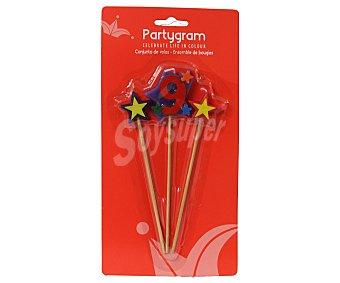 Partygram Velas de cumpleaños, 2 estrellas y número 9 partygram Pack de tres
