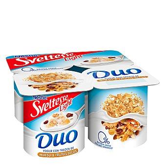 Sveltesse Nestlé Duo yogur desnatado 0% m.g. 0% azúcares añadidos con muesli y frutos secos Pack 4 unidades 125 g