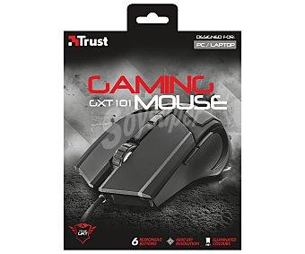 Trust Ratón óptico con cable especial para gamers, iluminado, 6 botones, 600/4800dpi, conexión Usb GXT101