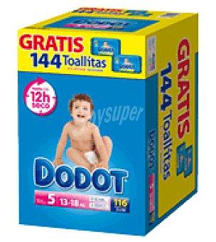 Dodot Caja pañal T5 (13-18 Kg.) + Regalo 144 toallitas 116 ud