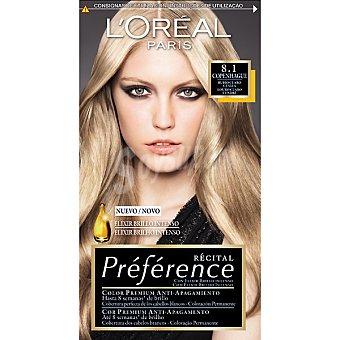 Preference L'Oréal Paris Tinte rubio claro ceniza nº 8.1 Copenhague con elixir brillo intenso coloración permanente Caja 1 unidad
