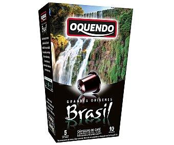 Oquendo Café de Brasil molido, tueste natural en monodosis compatibles con Nespresso 10 uds. de 50 gr