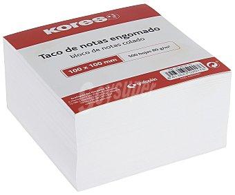 Kores Taco de 500 notas engomadas, cuadradas, de , de 100 x 100 mm y de color blanco kores 80 g