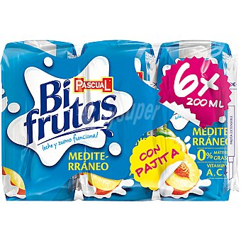 Bifrutas Pascual Zumo de fruta con leche y vitaminas Mediterráneo Pack 6 envases 200 ml