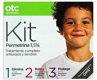OTC Antipiojos Kit permetrina , loción ,acondicionador y spray , 125+125+125 Mililitros