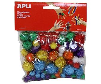 APLI Bolsa de 78 pom pones de colores brillantes y diferentes tamaños 1 unidad
